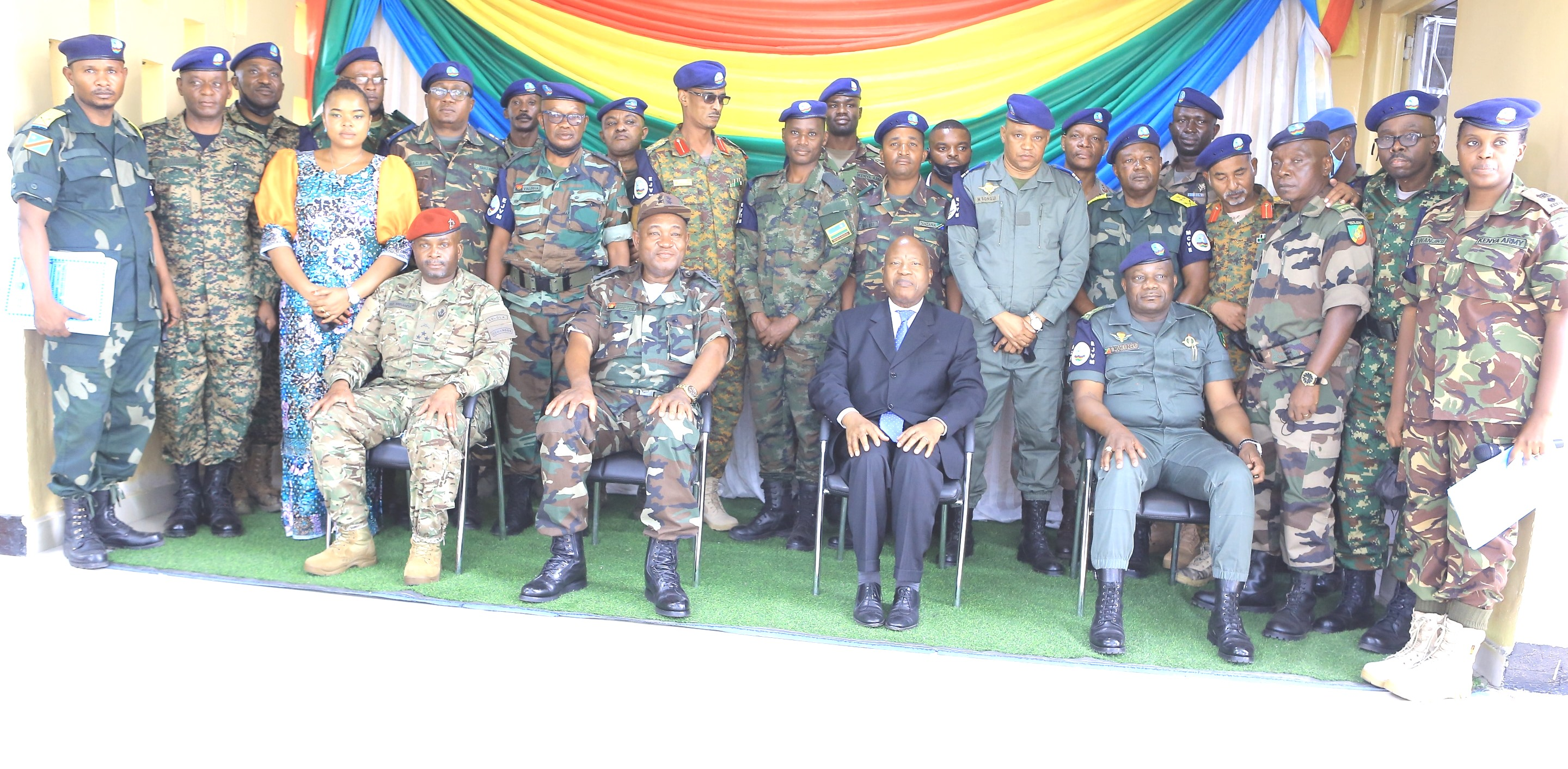 The Executive Secretary, Amb. João Samuel Caholo with EJVM Officers during the handing over ceremony between the outgoing and incoming Commander.January 2021 Goma-DRC.
